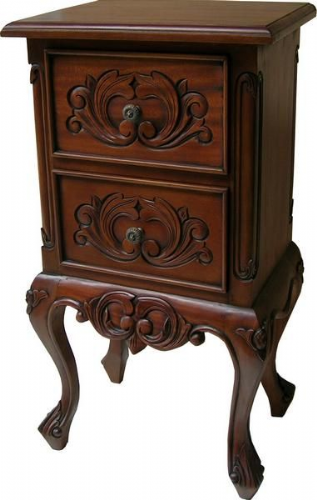 Two Drawer Bedside Locker in Mahogany